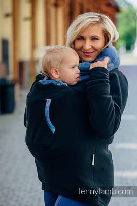 Fleece Babywearing Sweatshirt 2.0 - size M - black with Little Herringbone Illusion (grade B)