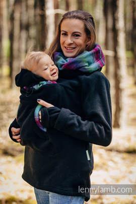 Fleece Babywearing Sweatshirt 2.0 - size XL - black with Little Herringbone Impression Dark (grade B)