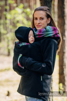 Fleece Babywearing Sweatshirt 2.0 - size S - black with Little Herringbone Impression Dark (grade B)