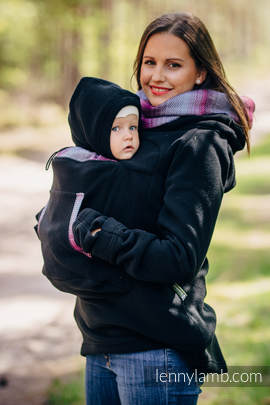 Fleece Babywearing Sweatshirt 2.0 - size L - black with Little Herringbone Inspiration (grade B)