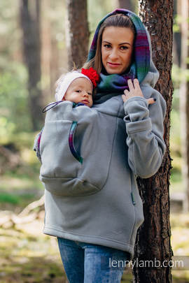 Fleece Babywearing Sweatshirt 2.0 - size L - grey with Little Herringbone Impression Dark (grade B)
