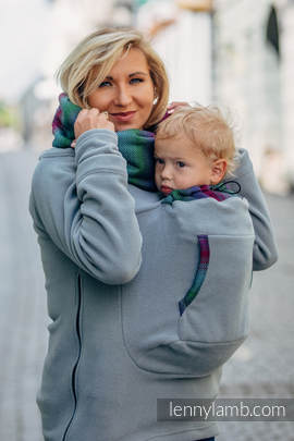 Fleece Babywearing Sweatshirt 2.0 - size XXL - grey with Little Herringbone Impression Dark (grade B)
