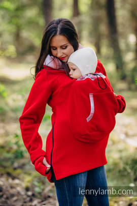 Fleece Babywearing Sweatshirt 2.0 - size M - red with Little Herringbone Elegance (grade B)