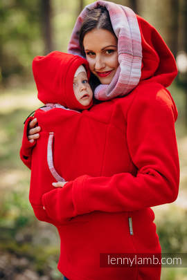 Fleece Babywearing Sweatshirt 2.0 - size 6XL - red with Little Herringbone Elegance