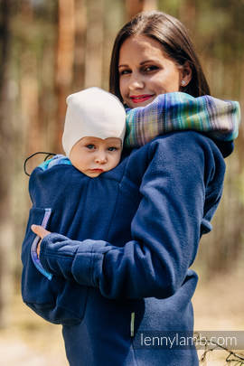 Fleece Babywearing Sweatshirt 2.0 - size M - navy blue with Little Herringbone Petrea (grade B)