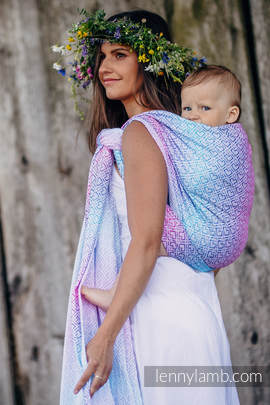 Baby Wrap, Jacquard Weave (60% cotton, 40% bamboo) - BIG LOVE - WILDFLOWERS - size S (grade B)