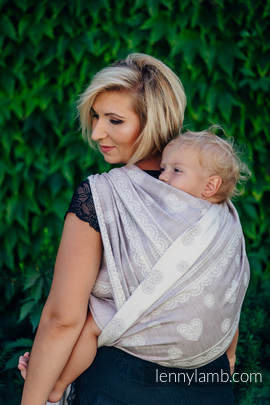 Baby Wrap, Jacquard Weave (60% cotton 28% linen 12% tussah silk) - SMOKY PINK LACE - size XS