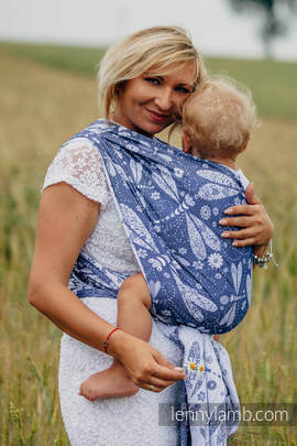 Baby Wrap, Jacquard Weave (60% cotton, 40% bamboo) - DRAGONFLY WHITE & NAVY BLUE - size XS