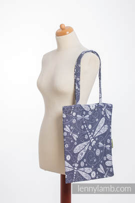 Shopping bag made of wrap fabric (60% cotton, 40% bamboo) - DRAGONFLY WHITE & NAVY BLUE