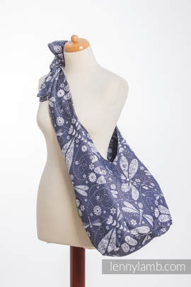 Hobo Bag made of woven fabric, 60% cotton, 40% bamboo - DRAGONFLY WHITE & NAVY BLUE