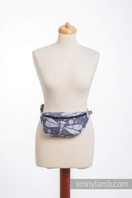 Waist Bag made of woven fabric, (60% cotton, 40% bamboo) - DRAGONFLY WHITE & NAVY BLUE