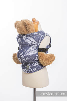 Doll Carrier made of woven fabric (60% cotton, 40% bamboo) - DRAGONFLY WHITE & NAVY BLUE