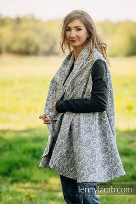 Long Cardigan - plus size - Paisley Navy Blue & Cream