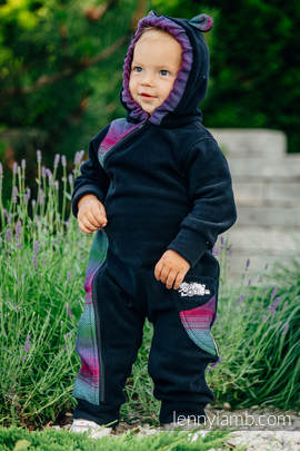 Bear Romper - size 92 - black with Little Herringbone Impression Dark