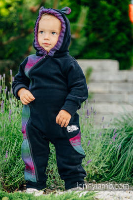 Bear Romper - size 68 - black with Little Herringbone Impression Dark