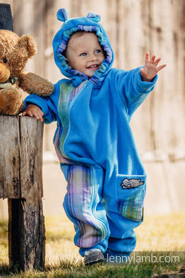 Bear Romper - size 92 - turquoise with Little Herringbone Petrea