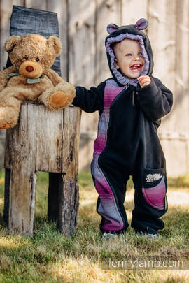 Bear Romper - size 92 - black with Little Herringbone Inspiration