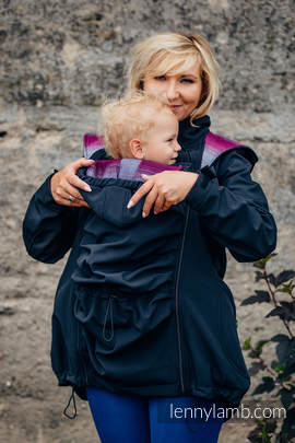 Babywearing Coat - Softshell - Black with Little Herringbone Inspiration - size 6XL
