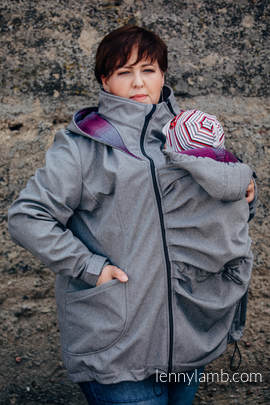 Babywearing Coat - Softshell - Gray Melange with Little Herringbone Inspiration - size 6XL