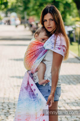 Baby Wrap, Jacquard Weave (100% cotton) - SYMPHONY RAINBOW LIGHT - size XL