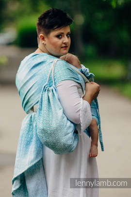 Sackpack made of wrap fabric (100% cotton) - BIG LOVE - ICE MINT - standard size 32cmx43cm