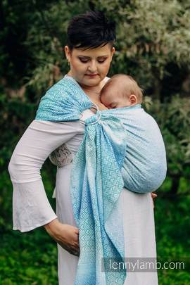 Ringsling, Jacquard Weave (100% cotton) - BIG LOVE - ICE MINT