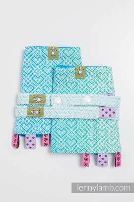 Drool Pads & Reach Straps Set, (100% cotton)t - BIG LOVE - ICE MINT