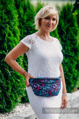 Waist Bag made of woven fabric, size large (100% cotton) - BUTTERFLY WINGS at NIGHT