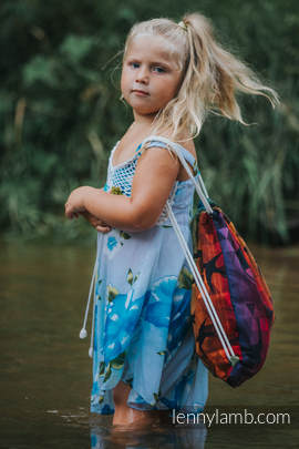 Sackpack made of wrap fabric (100% cotton) - SWALLOWS RAINBOW DARK - standard size 32cmx43cm
