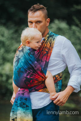 Baby Wrap, Jacquard Weave (100% cotton) - SWALLOWS RAINBOW DARK - size L (grade B)