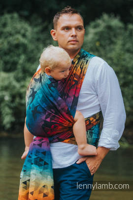 Baby Wrap, Jacquard Weave (100% cotton) - SWALLOWS RAINBOW DARK - size S