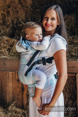 Ergonomic Carrier, Baby Size, jacquard weave 100% cotton - PAINTED FEATHERS WHITE & TURQUOISE - Second Generation (grade B)