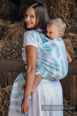 Baby Wrap, Jacquard Weave (100% cotton) - PAINTED FEATHERS WHITE & TURQUOISE - size L (grade B)