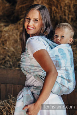 Baby Wrap, Jacquard Weave (100% cotton) - PAINTED FEATHERS WHITE & TURQUOISE - size XL (grade B)