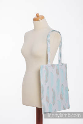 Shopping bag made of wrap fabric (100% cotton) - PAINTED FEATHERS WHITE & TURQUOISE (grade B)