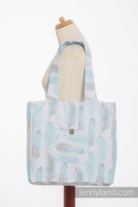 Shoulder bag made of wrap fabric (100% cotton) - PAINTED FEATHERS WHITE & TURQUOISE - standard size 37cmx37cm