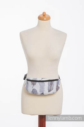 Waist Bag made of woven fabric, (100% cotton) - PAINTED FEATHERS WHITE & NAVY BLUE