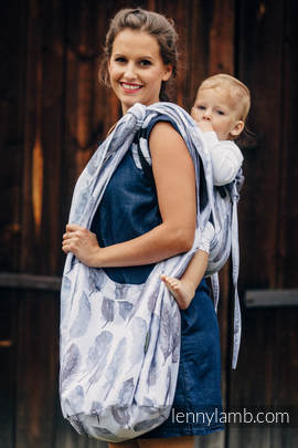 Hobo Bag made of woven fabric, 100% cotton - PAINTED FEATHERS WHITE & NAVY BLUE