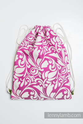Sackpack made of wrap fabric (100% cotton) - TWISTED LEAVES CREAM & PURPLE - standard size 32cmx43cm (grade B)