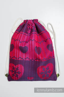 Sackpack made of wrap fabric (100% cotton) - WARM HEARTS WITH CINNAMON - standard size 32cmx43cm