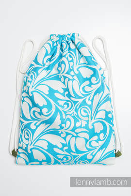 Sackpack made of wrap fabric (100% cotton) - TWISTED LEAVES CREAM & TURQUOISE - standard size 32cmx43cm