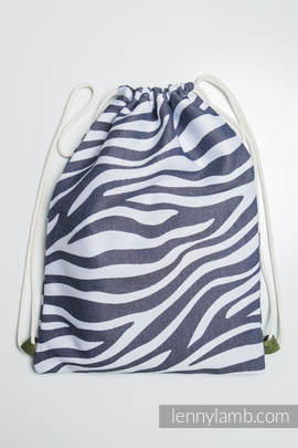 Sackpack made of wrap fabric (100% cotton) - ZEBRA GRAPHITE & WHITE - standard size 32cmx43cm