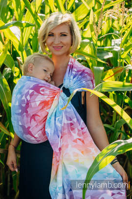 Ringsling, Jacquard Weave (100% cotton) - with gathered shoulder - SWALLOWS RAINBOW LIGHT (grade B)