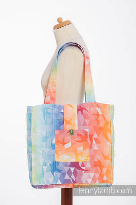 Shoulder bag made of wrap fabric (100% cotton) - SWALLOWS RAINBOW LIGHT - standard size 37cmx37cm