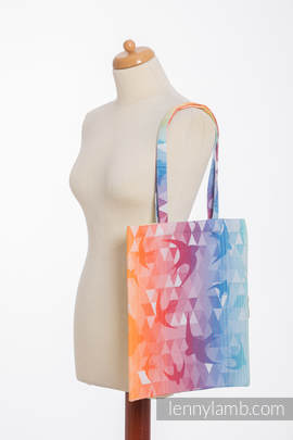 Shopping bag made of wrap fabric (100% cotton) - SWALLOWS  RAINBOW LIGHT