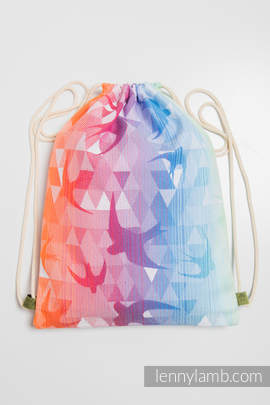 Sackpack made of wrap fabric (100% cotton) - SWALLOWS RAINBOW LIGHT - standard size 32cmx43cm (grade B)