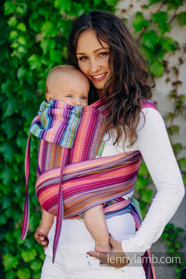 WRAP-TAI carrier Mini with hood/ herringbone twill / 100% cotton / LITTLE HERRINGBONE RASPBERRY GARDEN