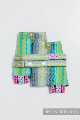 Drool Pads & Reach Straps Set, (100% cotton) - LITTLE HERRINGBONE AMAZONIA