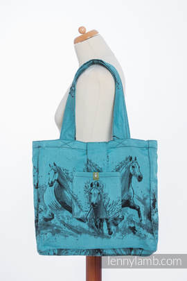Shoulder bag made of wrap fabric (100% cotton) - GALLOP BLACK & TURQUOISE - standard size 37cmx37cm