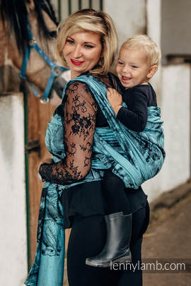 Baby Wrap, Jacquard Weave (100% cotton) - GALLOP BLACK & TURQUOISE - size M